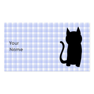 Sitting Black Cat Silhouette. On pale blue check. Business Card Templates