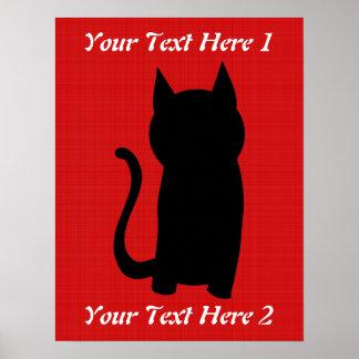 Sitting Black Cat Silhouette. Poster