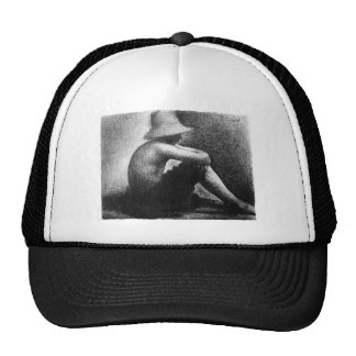 Sitting boy in straw hat by Georges Seurat