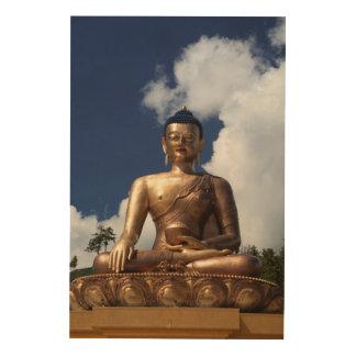 Sitting Buddha Statue Wood Wall Art