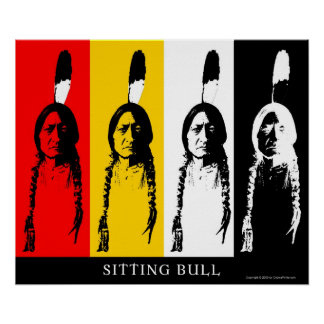 Sitting Bull in multicolor Poster