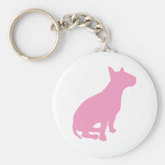 Sitting Bull Terrier (pink) Basic Round Button Key Ring