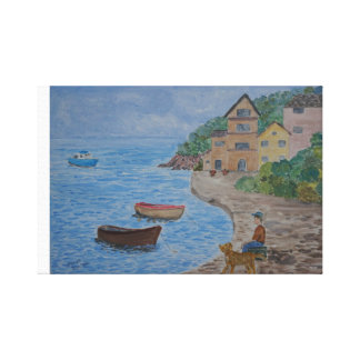 Sitting By The Harbour Canvas Print