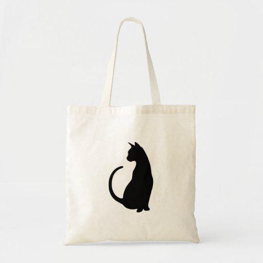 Sitting Cat Tote Bag (black silhouette)