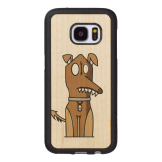 Sitting Doggie Illustration Wood Samsung Galaxy S7 Case