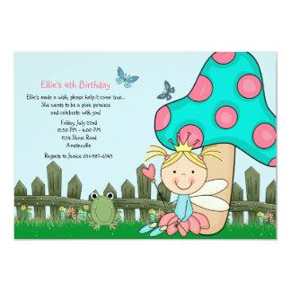 "Sitting Fairy Princess Birthday Invitation 5"" X 7"" Invitation Card"