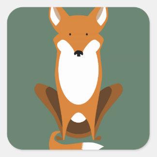 Sitting Fox Square Sticker