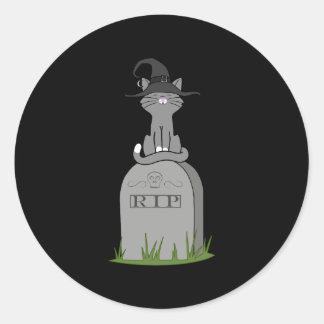 Sitting Gray Cat on RIP Grave Stone Round Sticker