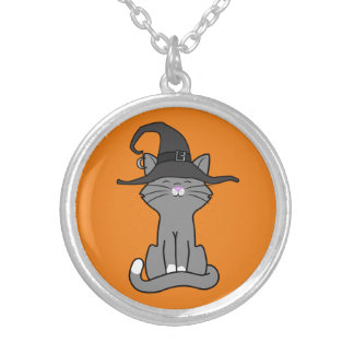Sitting Gray Cat with Halloween Witch Hat Round Pendant Necklace