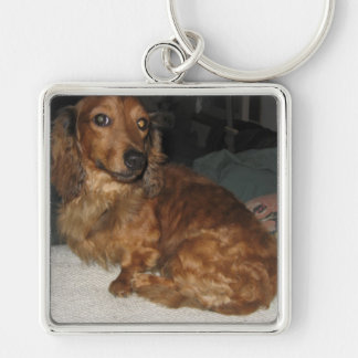 Sitting Jefferson Silver-Colored Square Key Ring