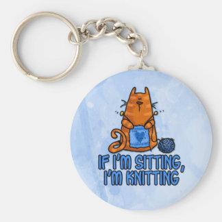 sitting knitting basic round button key ring
