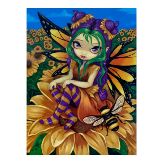 Sitting on a Sunflower ART PRINT fantasy fairy