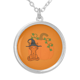 Sitting Orange Cat with Halloween Pumpkin Round Pendant Necklace