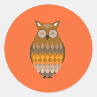 Sitting Owl Classic Round Sticker