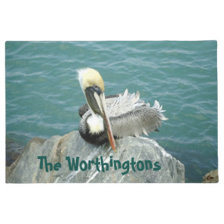 Sitting Pelican Personalised Doormat