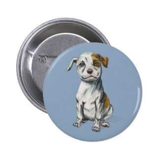 Sitting Pit Bull Puppy Drawing 6 Cm Round Badge