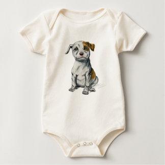 Sitting Pit Bull Puppy Drawing Baby Bodysuit