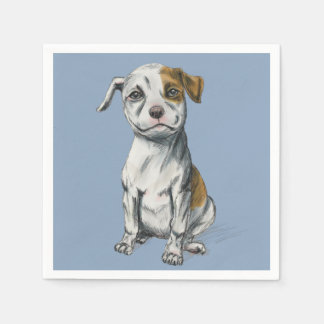 Sitting Pit Bull Puppy Drawing Disposable Serviette