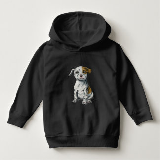 Sitting Pit Bull Puppy Drawing Hoodie