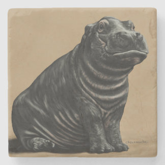 Sitting Pretty Baby Hippo Stone Coaster
