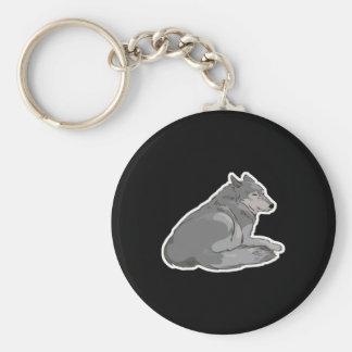 sitting pretty grey wolf key chains