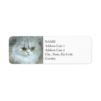 Sitting Pretty Kitty | Abstract | Watercolor Return Address Label