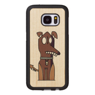 Sitting Puppy Illustration Wood Samsung Galaxy S7 Case