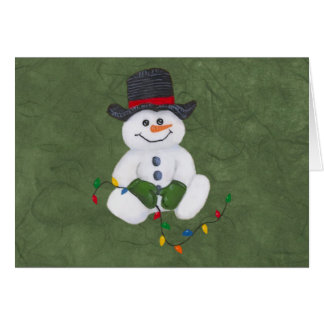 Sitting Snowman Christmas Card