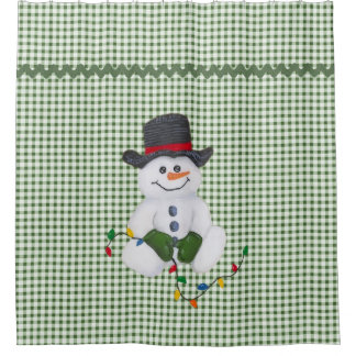 Sitting Snowman Shower Curtain