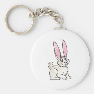 Sitting White Rabbit Basic Round Button Key Ring