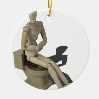 SittingOnToiletWithPain082414 copy Ceramic Ornament