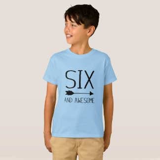 Six And Awesome 6th Birthday Gift T-Shirt (Light)