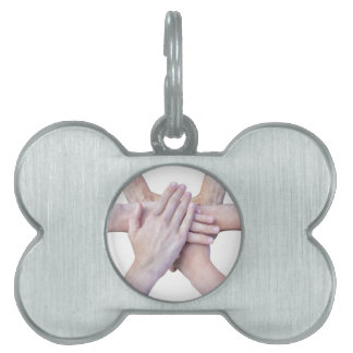 Six arms unite with hands on each other pet ID tag