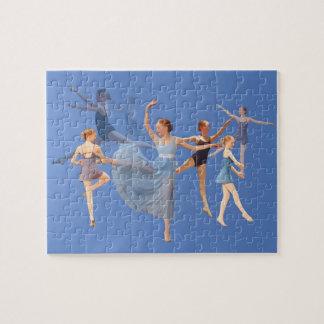 Six Ballerinas on Blue Jigsaw Puzzle