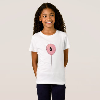Six Birthday with Pink Balloon T-Shirt