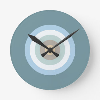 Six Color Combo - Blue Brown Sand Beige Turquoise Round Clock