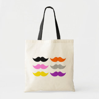 Six Colored Mustaches Moustaches Budget Tote Bag