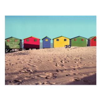Six Colorful Beach Hut | Cape Town, South Africa Postcard