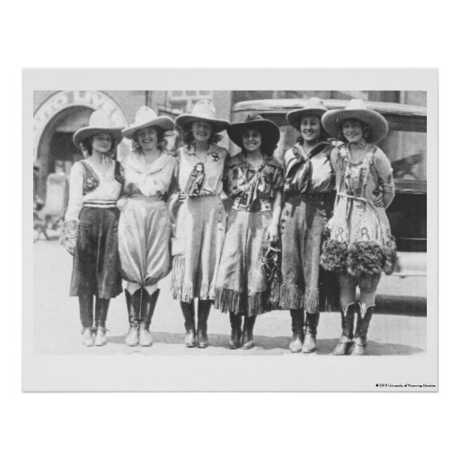 Six cowgirls at Cheyenne Frontier Days. Poster