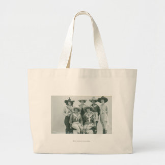 Six cowgirls in hats and sashes. large tote bag