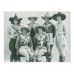 Six cowgirls in hats and sashes. post card