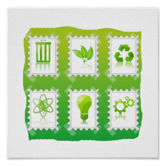 six eco stamps design taped on green.png poster