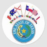 Six Flags of Texas with other Historic Flags Round Sticker