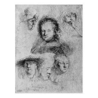 Six heads with Saskia van Uylenburgh Postcard