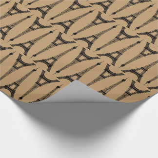 Six Inch Black Eiffel Towers on Camel Brown Wrapping Paper