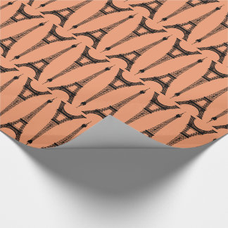 Six Inch Black Eiffel Towers on Peach Wrapping Paper