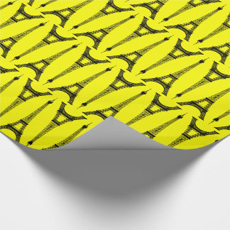 Six Inch Black Eiffel Towers on Yellow Wrapping Paper
