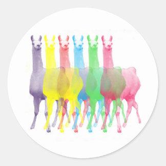 six lamas in six llama colors classic round sticker