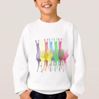 six lamas in six llama colors sweatshirt