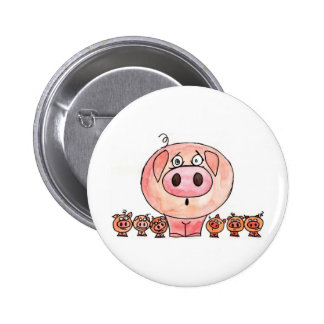 Six Little Pigs 6 Cm Round Badge